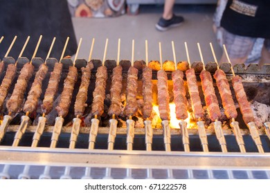 arrosticini grilled sheep meat or mutton typical Abruzzi Italian cuisine