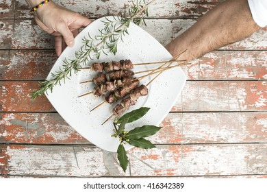 Arrosticini take away in a dish