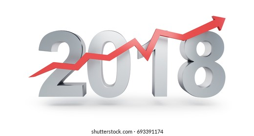 Arrow up for 2018 on a white background 3D illustration, 3D rendering