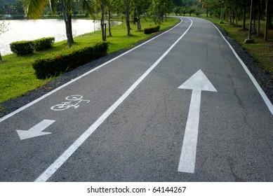 Arrow in both way , bicycle lane, white arrow