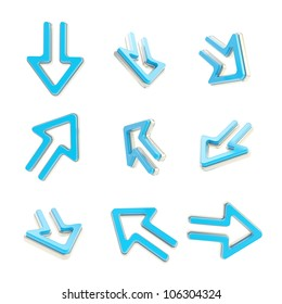Arrow dimensional icons, metal and blue set of nine positions isolated on white