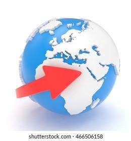 Arrow and Earth globe. 3d render