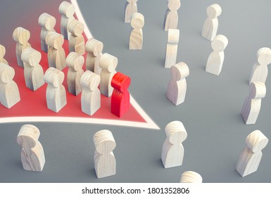 Arrow formation of leader with followers breaks through the crowd. Breaking new ground. Reform movement, political force. Public response. Cooperation, social movement. Consolidation