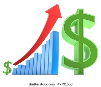 The arrow goes up indicating an increase in the money. Concept of business and finances.