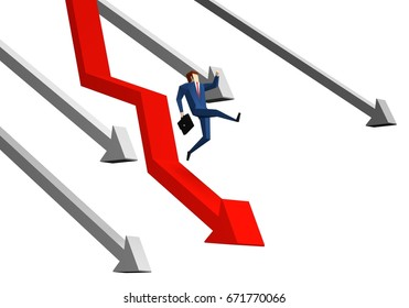 Arrow graph going down and businessman is falling down