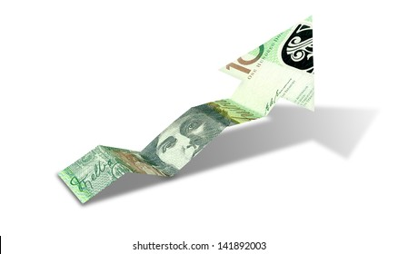 An arrow graph trend shaped 100 australian dollar bank note showing an economic upward trend on an isolated background