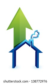 Arrow with house. rising prices in housing market concept illustration design