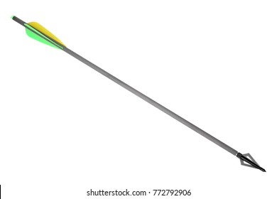 Arrow with hunting broadhead for compound bow and crossbow isolated on white background