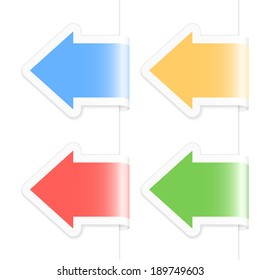 Arrow labels. 2d illustration.