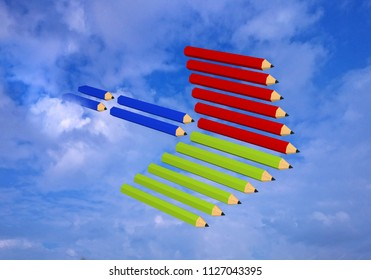 Arrow made of crayons in the sky. 3d rendering