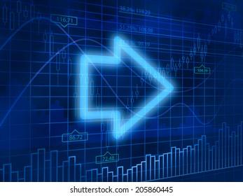 Arrow on finance background