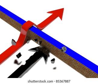 Arrow over a wall