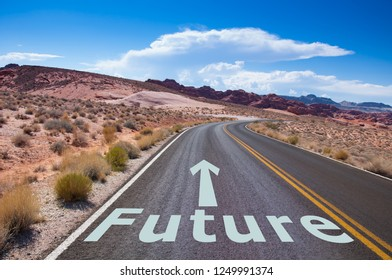 Arrow pointing to the future on empty street in the desert