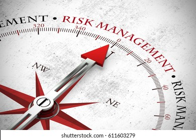 Arrow points to risk management slogan on compass (3D Rendering)