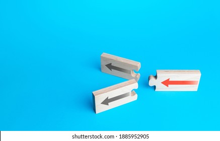 Arrow puzzles with alternative paths on a blue background. Choosing a further path, alternative options. Choice, new possibilities. Progress. Best estimate. Choose from two variations. Fork concept