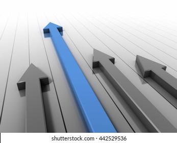 Arrow race blue 3D rendering