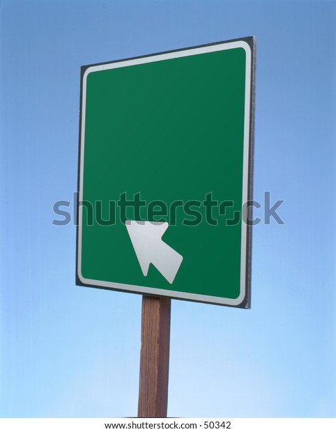 Arrow road sign with blank space.