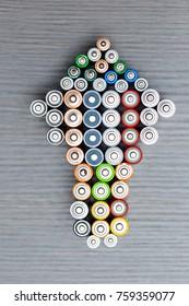 Arrow up shape of used batteries