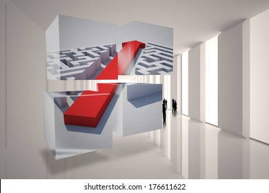 Arrow through maze on abstract screen against tiny figures in bright room