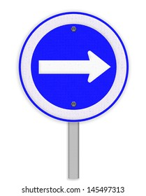 Arrow traffic sign isolated on white background , Part of a series.