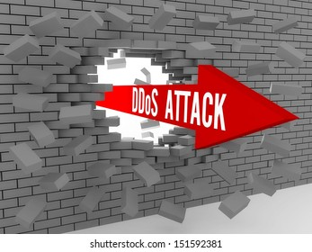Arrow with words DDos Attack breaking brick wall. Concept 3D illustration.