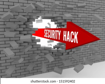 Arrow with words Security Hack breaking brick wall. Concept 3D illustration.