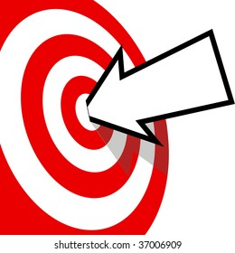 An arrow with your copyspace hits the bulls eye of a red target dead center.