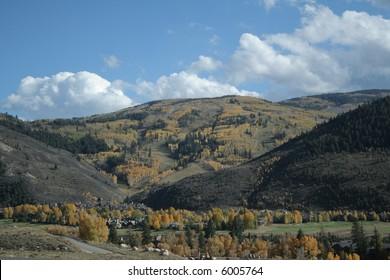 Arrowhead ski area during autumn aspen color change