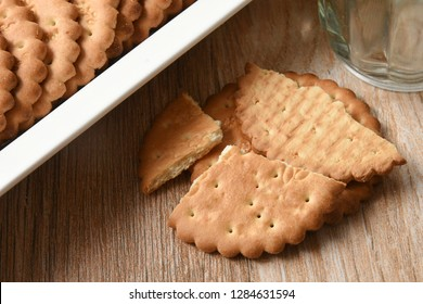 Arrowroot biscuits stacked or arranged in a white plate Kerala, India. Healthy accompaniment with your daily morning cup of tea or coffee or between meal time.