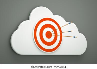 an arrows with aim on a cloud