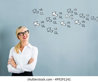 Arrows with business woman on a gray background