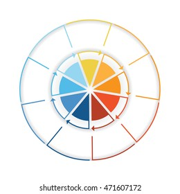 Arrows from colourful lines Around circle. Template infographic nine position. Pie chart