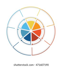 Arrows from colourful lines Around circle. Template infographic seven position. Pie chart