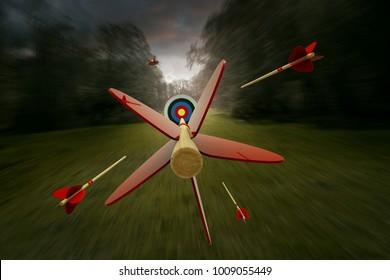 Arrows flying towards target (3D Rendering)