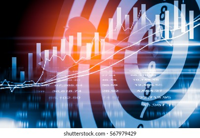 Arrows lace on dartboard behind stock market statistics graph or forex chart with indicator in abstract background. Business concept to present marketing strategy and target goal.