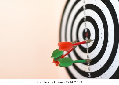 Arrows on target dart over blurred bokeh background, Represent to target marketing or target arrow concept, Selective focus.