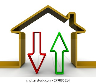 Arrows rising and falling on the background of symbolic house. Financial concept.