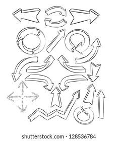arrows sketchy elements set vector illustration