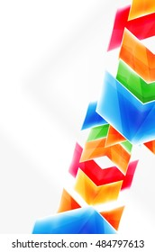 Arrows and triangles background. web brochure, internet flyer, wallpaper or cover poster layout design. Geometric style, colorful realistic glossy arrow shapes with copyspace. Directional idea banner