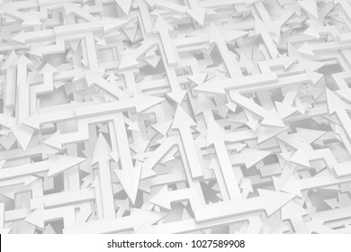 Arrows white chaotic mix, 3d illustration, horizontal