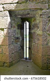 Arrowslit, St Mary's Augustinian Priory, Devenish Island, Lower Lough Erne, County Fermanagh, Northern Ireland