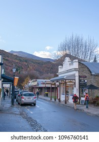 Arrowtown, New Zealand - 12 May, 2016: Arrowtown is a delightful gold rush village, charming and quirky and Buckingham Street of Arrowtown is a shopping experience.