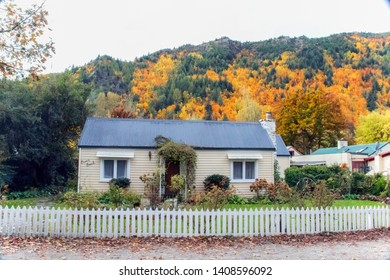 ARROWTOWN, NEW ZEALAND - Apr 27, 2019:  Autumn landscape of historic town in Arrowtown in south island of New Zealand