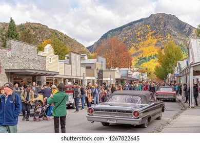 ARROWTOWN, NEW ZEALAND - APRIL 2018: Tourists flock to Arrowtown for the Akura Arrowtown Autumn Festival 19th to 25th April 2018