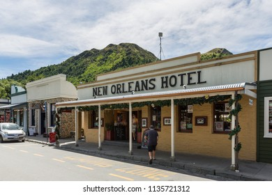 Arrowtown New Zealand December 24th 2014 :  Enjoying a drink at a the New Orleans Hotel in Arrowtown, New Zealand