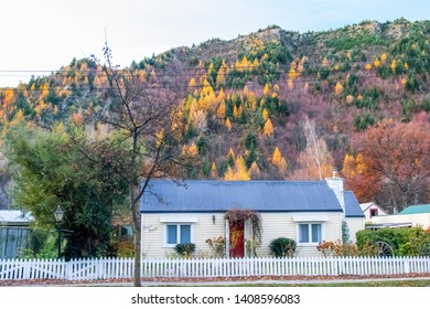 ARROWTOWN, NEW ZEALAND - May 25, 2019: Autumn landscape view with house in arrowtown in New Zealand