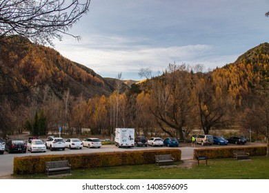ARROWTOWN, NEW ZEALAND - May 25, 2019: View of Trees in Arrowtown in New Zealand during peak autumn colour