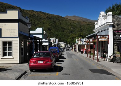 ARROWTOWN, NZ - FEB 10: Visitors in Arrowtown on February 10 2009. Arrowtown is a historic gold mining town in the Otago region of the South Island of New Zealand.