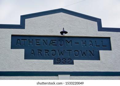 Arrowtown, otago/New Zealand-10/5/2019: Athenaeum Hall, a theatre at the street of buckingham