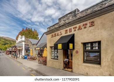 Arrowtown,New Zealad- April 1, 2018: Vintage shopping center in Arrowtown, New Zealand